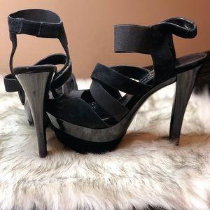 Jessica Simpson black open toe heels